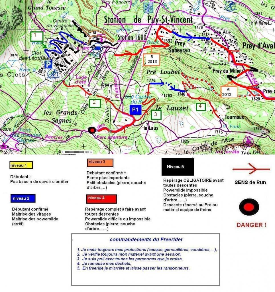 Le parcours 1: Niveau bleu / Route bitumée redescendant au forum 1600 Le parcours 2: Niveau rouge / Chemin en terre  Le parcours 3: Niveau rouge / chemin en terre dans la forêt qui au niveau de la bergerie passe en niveau bleu  Le parcours 4: niveau Rouge/ Chemin terre (super sympa) Vers «les Tournoux» Le parcours en pointillés reste à découvrir et il en a pleins d'autres. Mais en une semaine, c'était un peu «short»