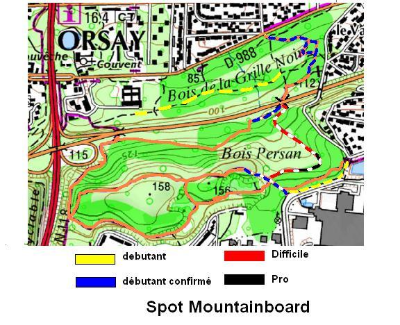 carte des differents chemins pour le spot d'orsay essonne